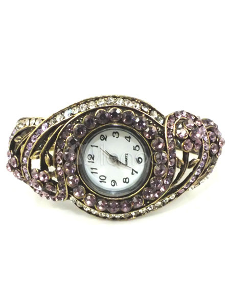 Vintage Rhinestone Bracelet Watch (Random Color)