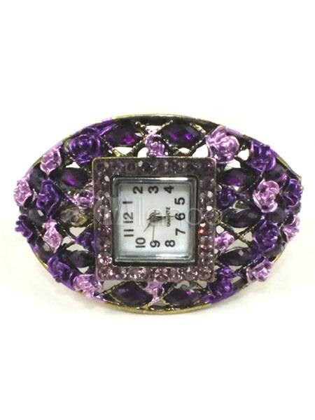 Vintage Rhinestone Alloy Bracelet Watch (Random Color)