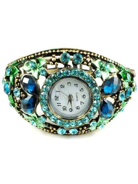 Vintage Colorful Rhinestone Bracelet Watch (Random Color)