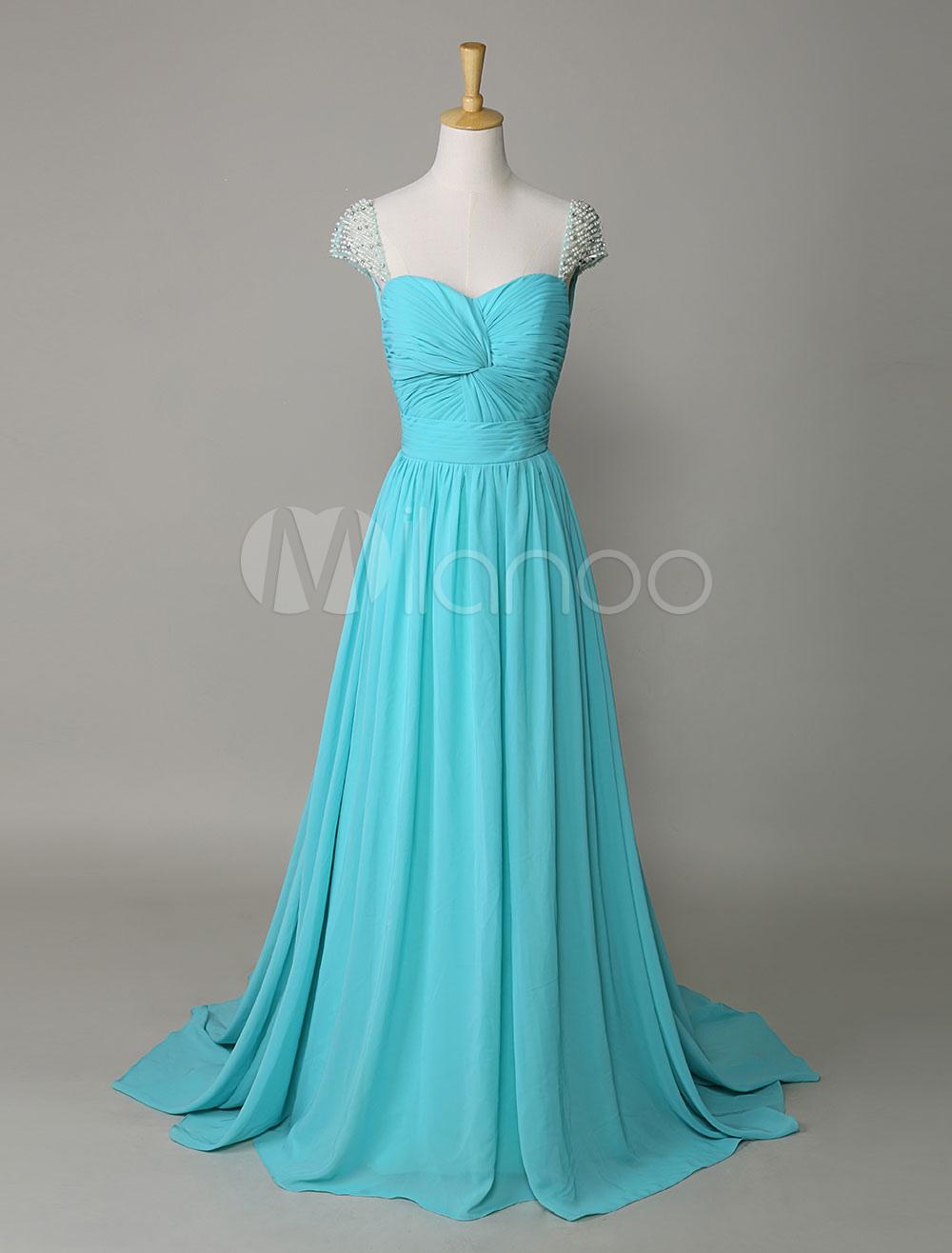 Beaded Cap Sleeve Twisted Bodice Long Prom Dress (Wedding Prom Dresses) photo