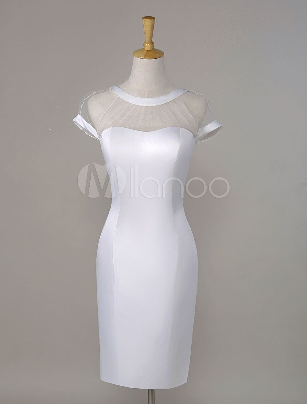 Short Sleeves Illusion V-Back Satin Cocktail Dress Wedding Guest Dress (Cheap Party Dress) photo