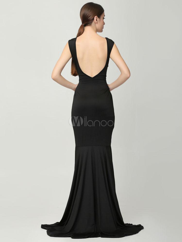robe longue noir soie de lait dos d collet. Black Bedroom Furniture Sets. Home Design Ideas