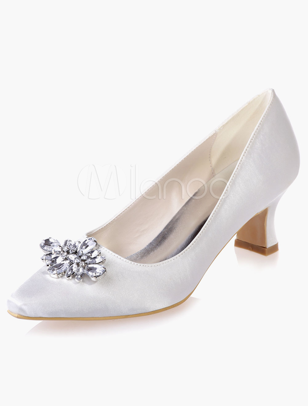 Rhinestones Low Heel Satin Pumps For Bride