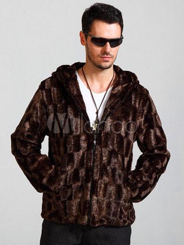 Brown Faux Fur Hooded Coat For Men thumbnail