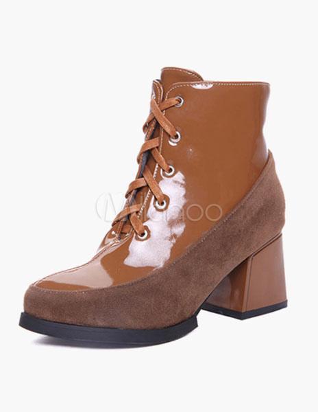 bottine femme bout rond et talons pais avec lacets boots. Black Bedroom Furniture Sets. Home Design Ideas