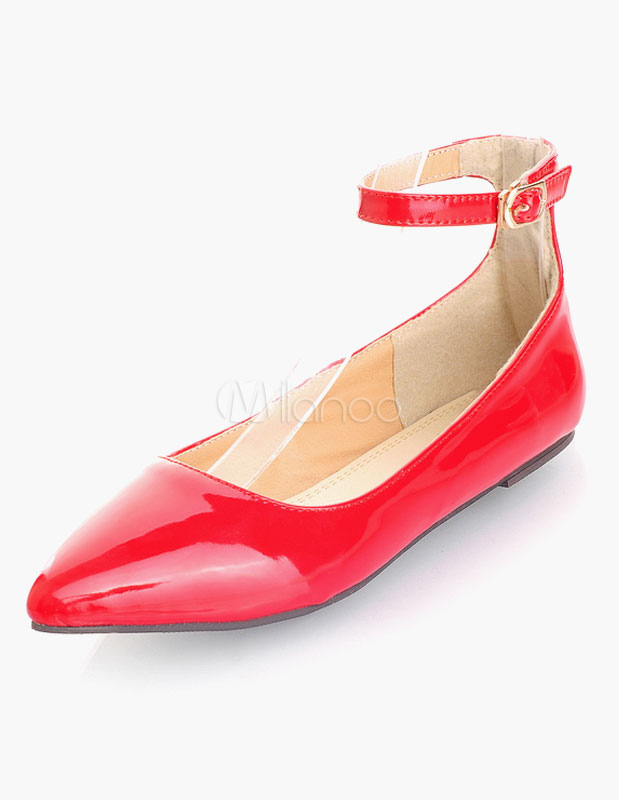 Red Pointed Toe Patent PU Flats for Girls thumbnail
