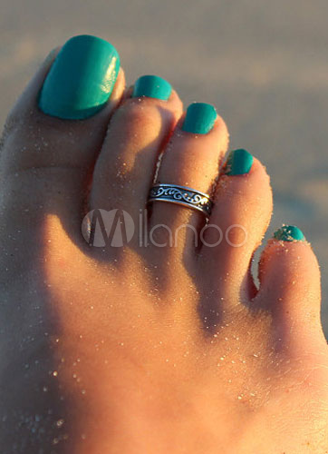 Silver Toe Ring Embossed Alloy Toe Rings for Women
