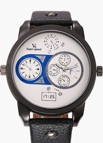 Round Sport Watch Multiple Time Zone Watch for Men