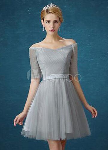 Silver Gray Bridesmaid Dresses Tulle Short Bridesmaid Dress For Woman (Wedding) photo