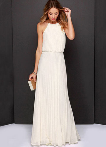 White Floor-Length Chiffon Bridesmaid Dress for Woman (Wedding Bridesmaid Dresses) photo