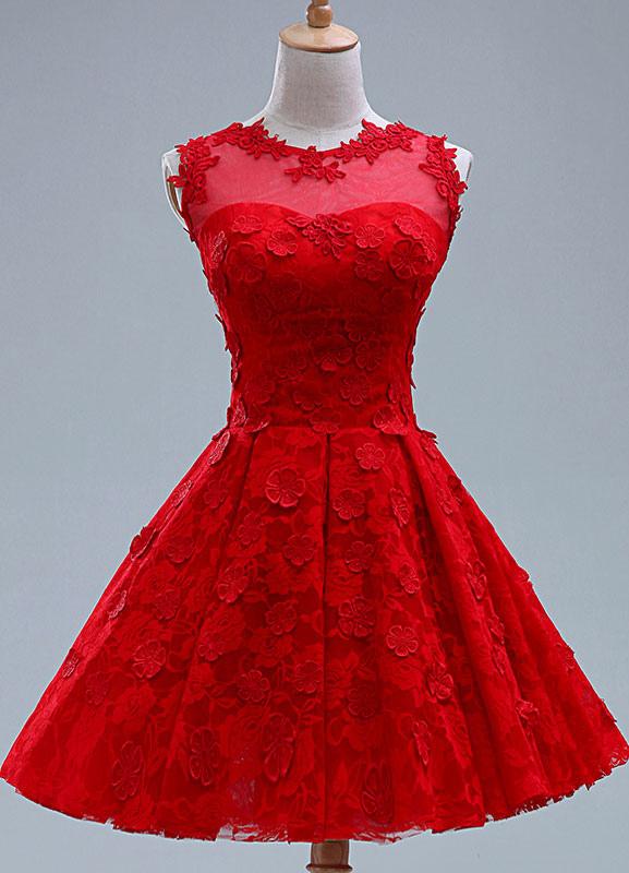 Red Applique Lace Short Bridesmaid Dress for Woman (Wedding Bridesmaid Dresses) photo