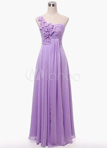 One Shoulder Ruched Lilac Chiffon Bridesmaid Dress (Wedding Bridesmaid Dresses) photo