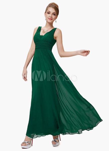 Green V-neck Peplum Chiffon Bridesmaid Dress for Woman (Wedding Bridesmaid Dresses) photo