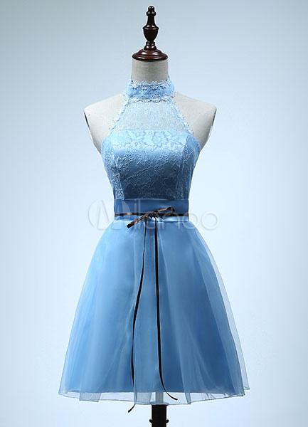 Light Sky Blue Tulle Short Bridesmaid Dress for Woman (Wedding Bridesmaid Dresses) photo