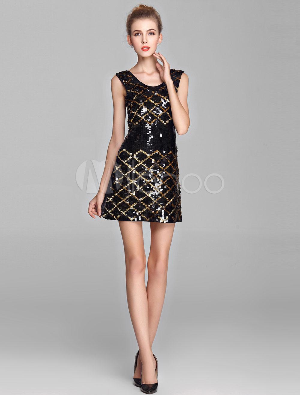 Golden and Black Plaid Sequin Cocktail Dress (Wedding Cheap Party Dress) photo
