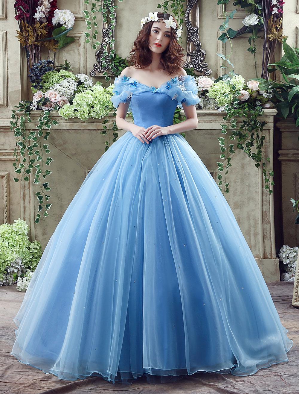 Cinderella Kleid Blau Organza Tüll aus der Schulter-Ball-Kleid-Kleid ...