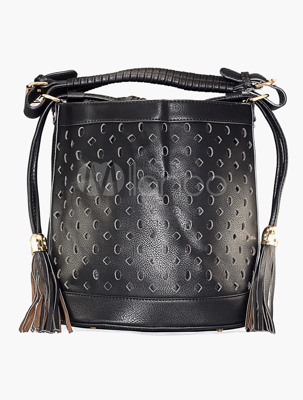 noir sac main sac besace sac f minin seau sac au style boh me de d coupe. Black Bedroom Furniture Sets. Home Design Ideas