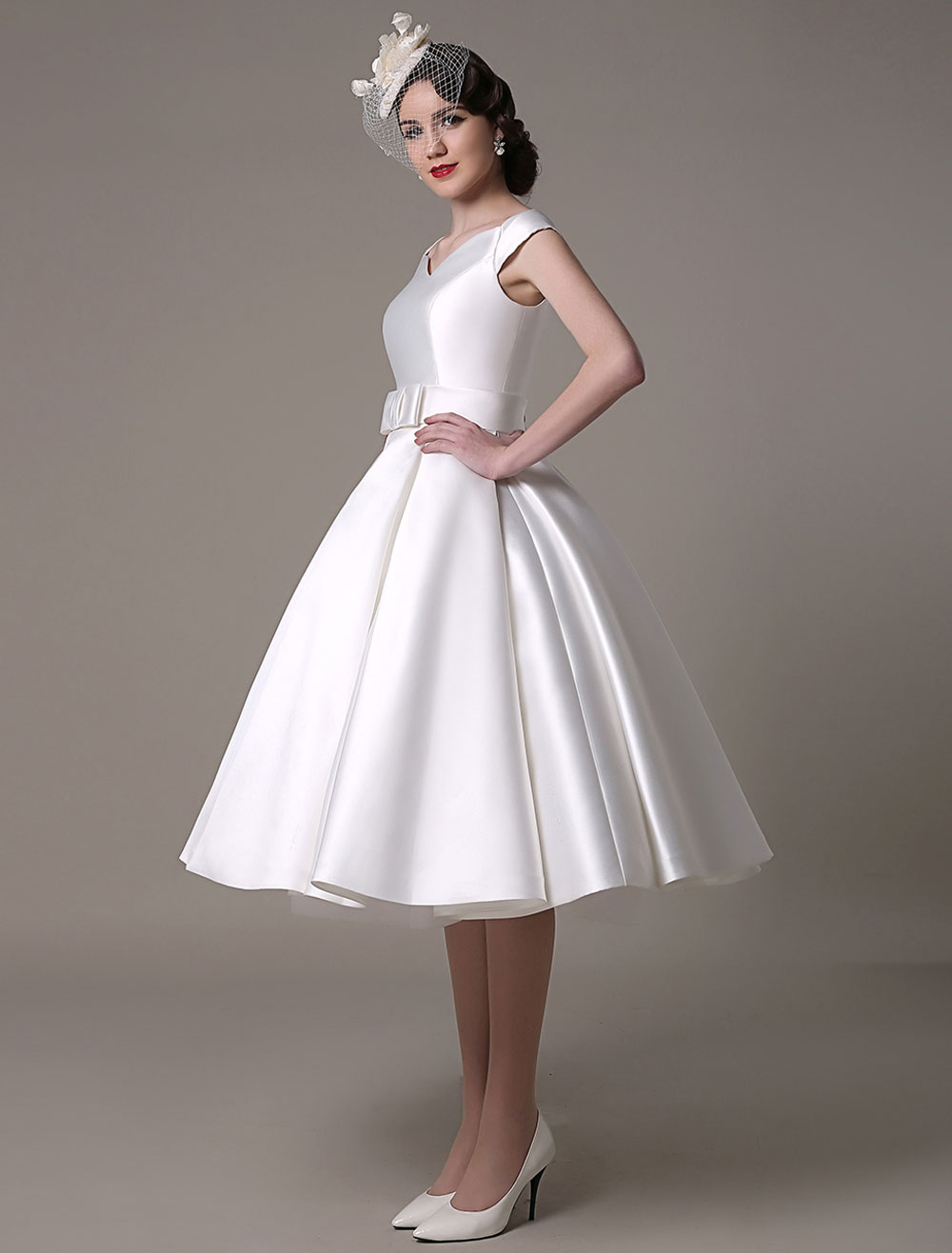 Ivory Wedding Dresses 2018 short satin Knee Length bow Sash retro bridal dress Milanoo (Short Wedding Dress) photo