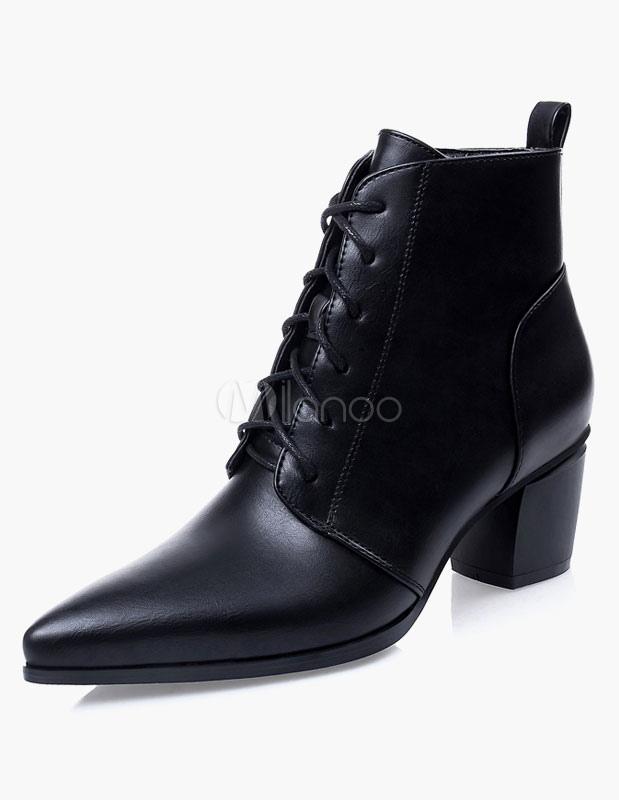 bottine femme bout pointu et talons pais noire avec lacets boots. Black Bedroom Furniture Sets. Home Design Ideas