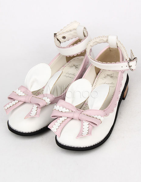 Light Pink Bow Tie PU Lolita Shoes for Girls thumbnail