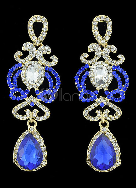 Hollow Out Vintage Blue Gemstone Dangle Earring