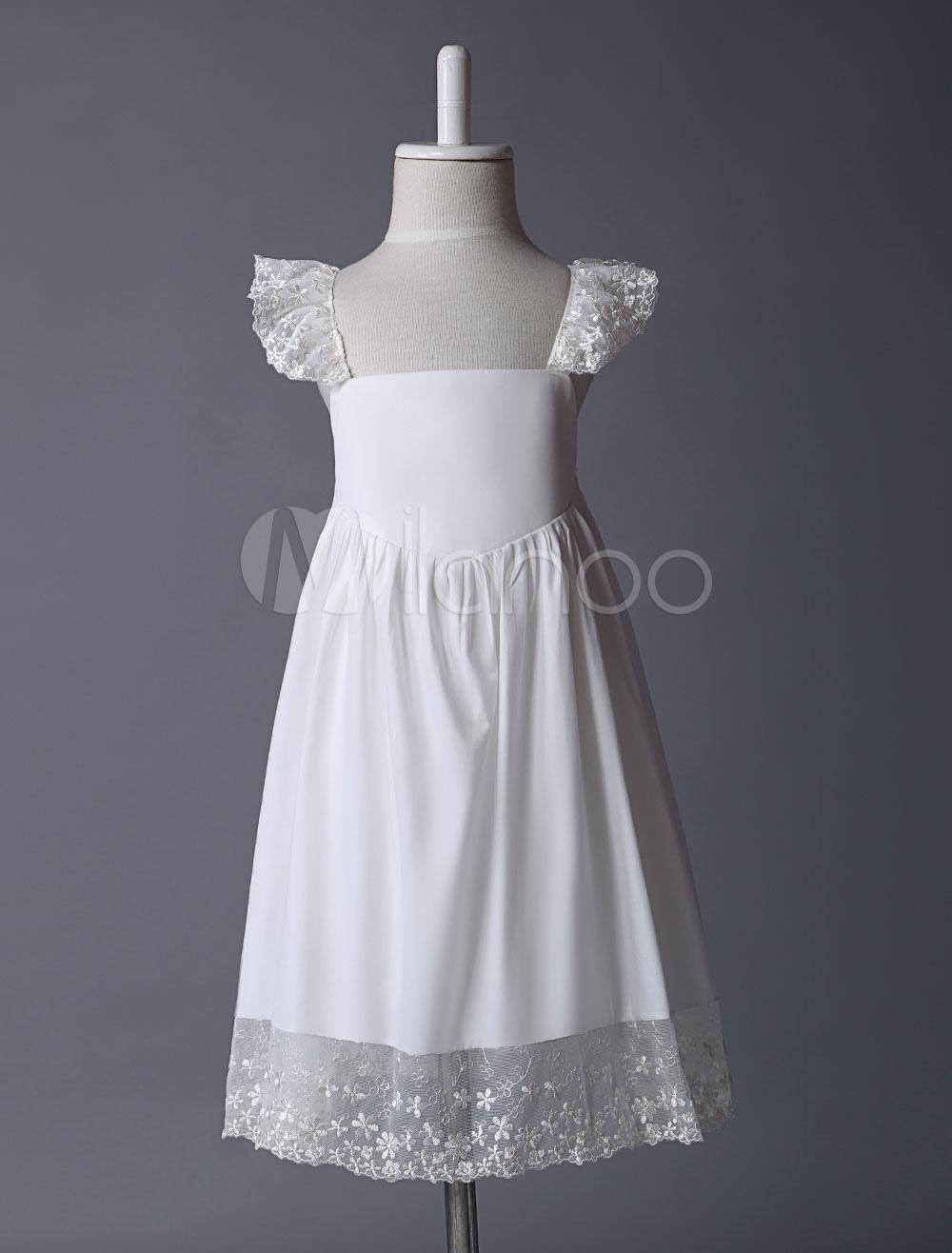 Ivory Flower Girl Dress Boho Summer Beach Lace Trim Little Girls Dresses