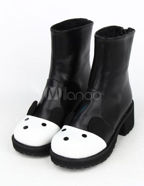 Black White Cute PU Lolita Boots for Girls thumbnail