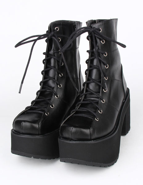 Black Lace Up PU Lolita Boots for Girls thumbnail