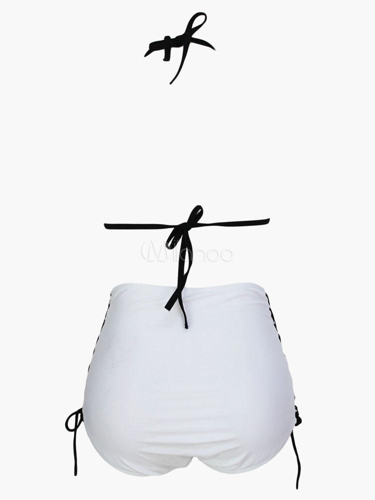 Traje De Baño Rojo Pelicula:dos piezas traje de baño blanco Lycra Spandex traje de baño para