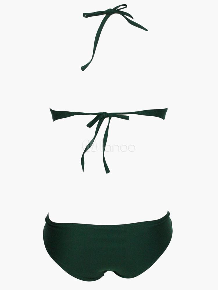 Baños Color Verde Oscuro:Oscuro vestido verde Lycra Spandex traje de baño para las mujeres