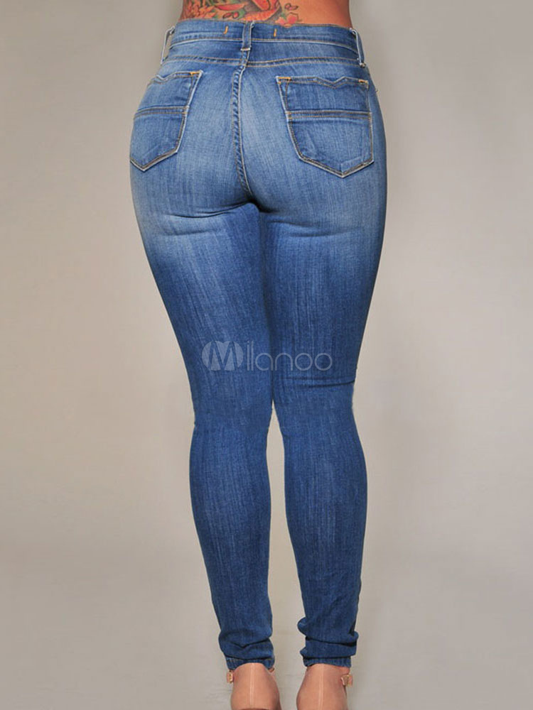 blau distressed zerrissene jeans f r frauen. Black Bedroom Furniture Sets. Home Design Ideas