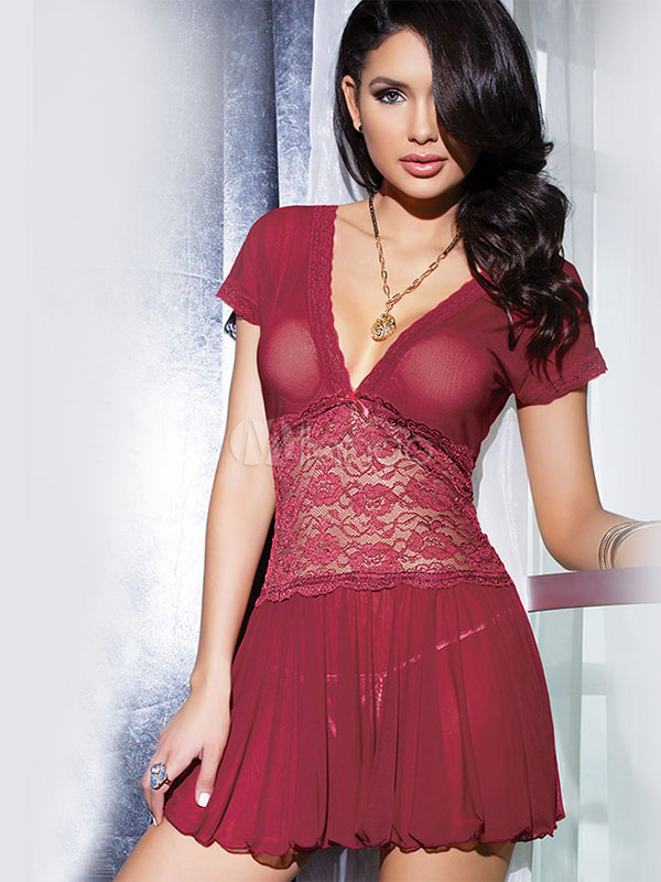 Red Deep-V Polyester Lace Sexy Dress For Women (Women\\'s Clothing Gowns & Robes) photo