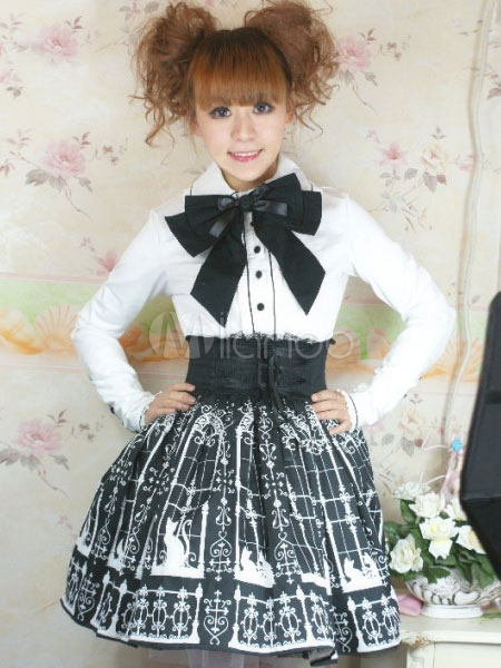 White Cotton Gothic Lolita Blouse with Black Bow Tie steampunk buy now online