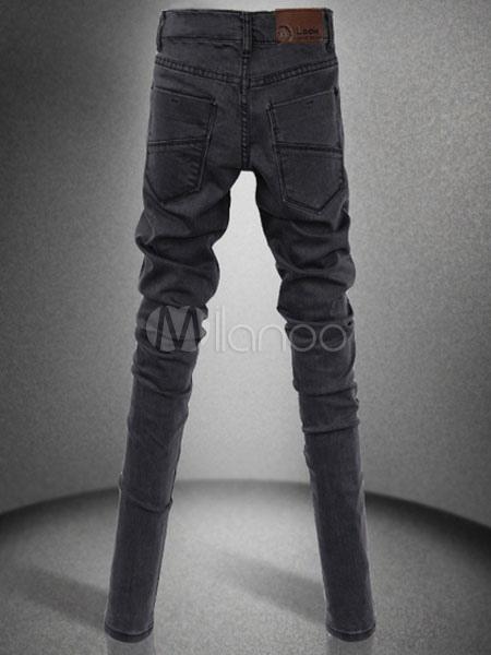 tief graue baumwoll skinny jeans f r m nner. Black Bedroom Furniture Sets. Home Design Ideas