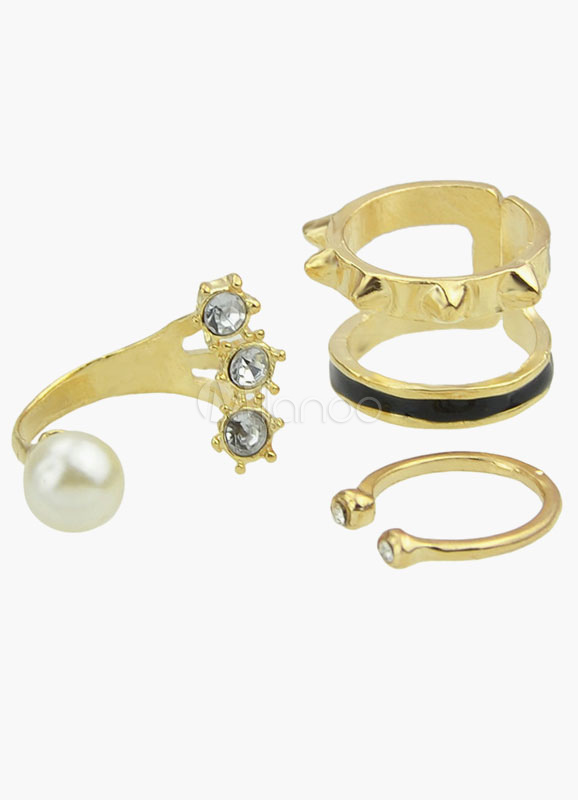 Gold 3-Piece Alloy Stacking Ring for Women thumbnail