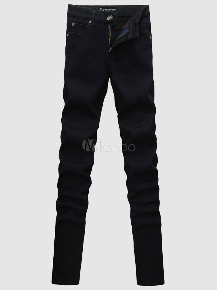 Black Cotton Casual Skinny Jeans for Men