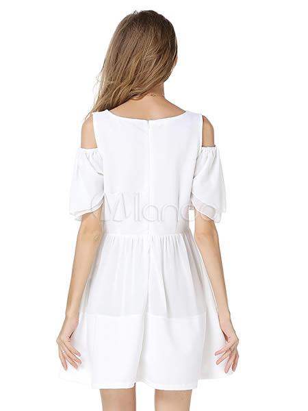 robe d 39 t blanche unicolore avec peplum col rond. Black Bedroom Furniture Sets. Home Design Ideas