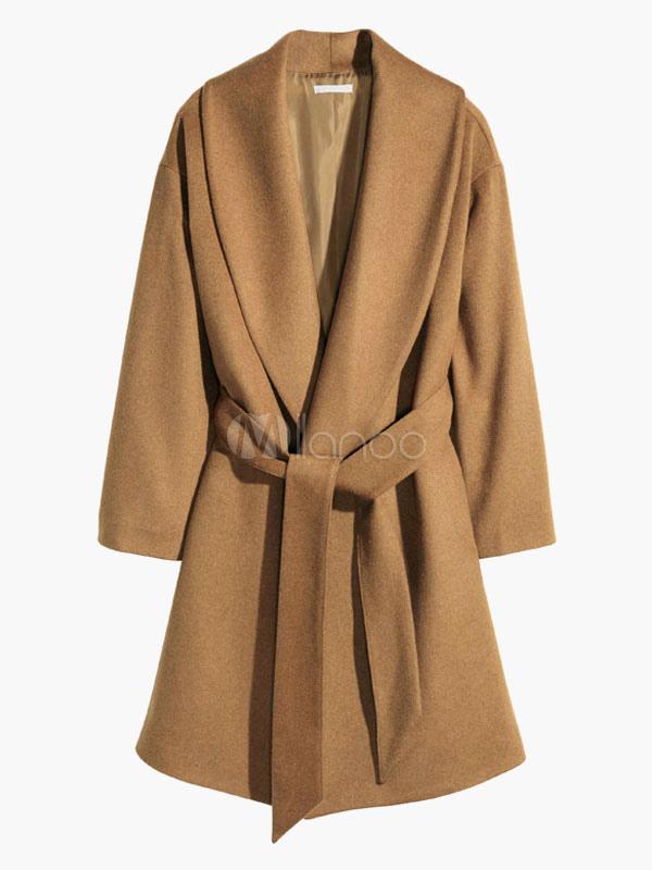 leichte tan polyester wrap coat f r frau. Black Bedroom Furniture Sets. Home Design Ideas