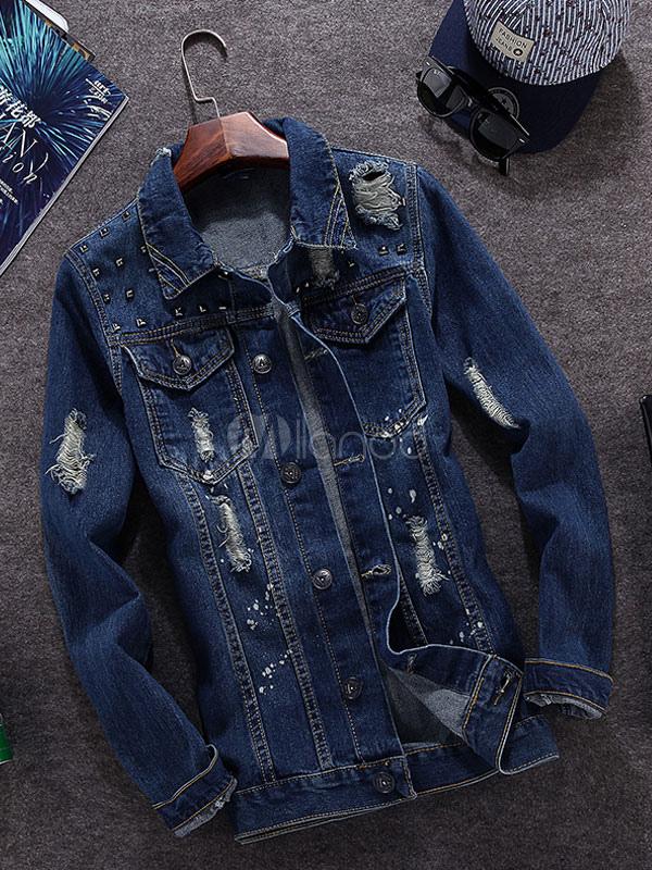 Blue Casual Denim Jacket for Men