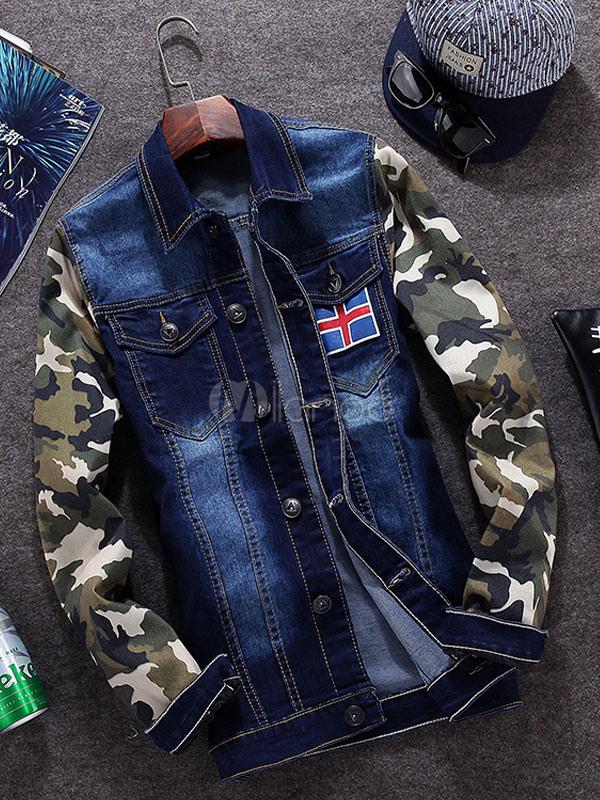 Blue Camouflage Casual Denim Jacket for Men