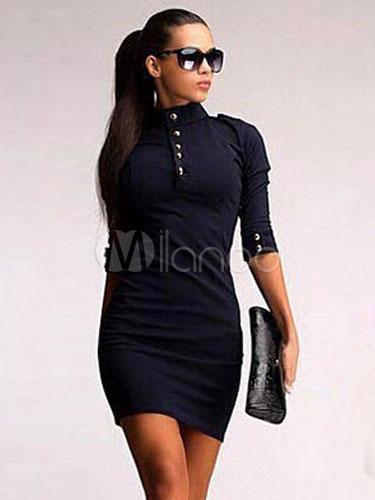 Black Cotton Blend Vintage Dress for Women (Women\\'s Clothing Vintage Dresses) photo