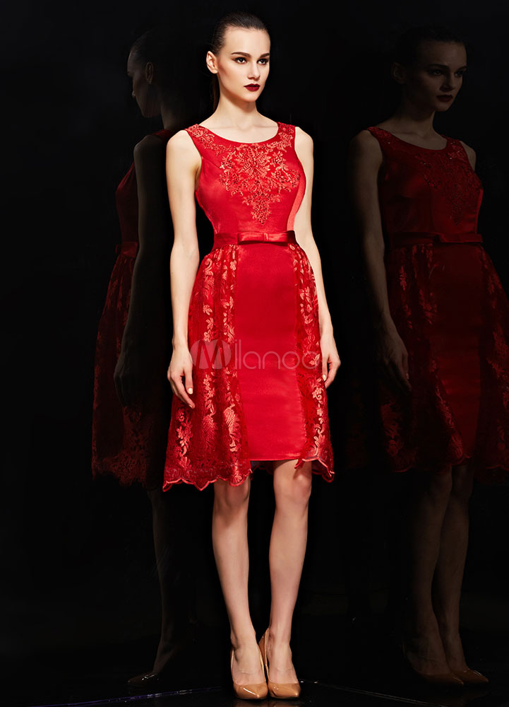 Red Rhinestone Embroidery Satin Lace Cocktail Dress (Wedding Cocktail Dresses) photo
