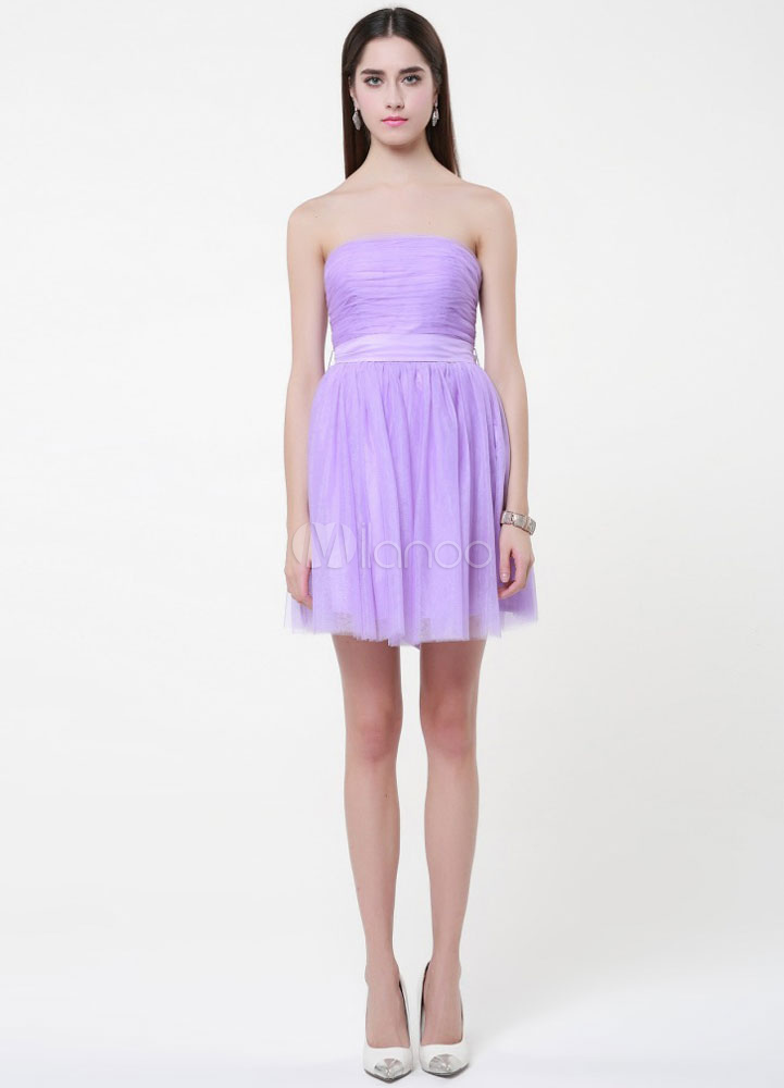 Strapless Corset Back Tulle Bridesmaid Dress