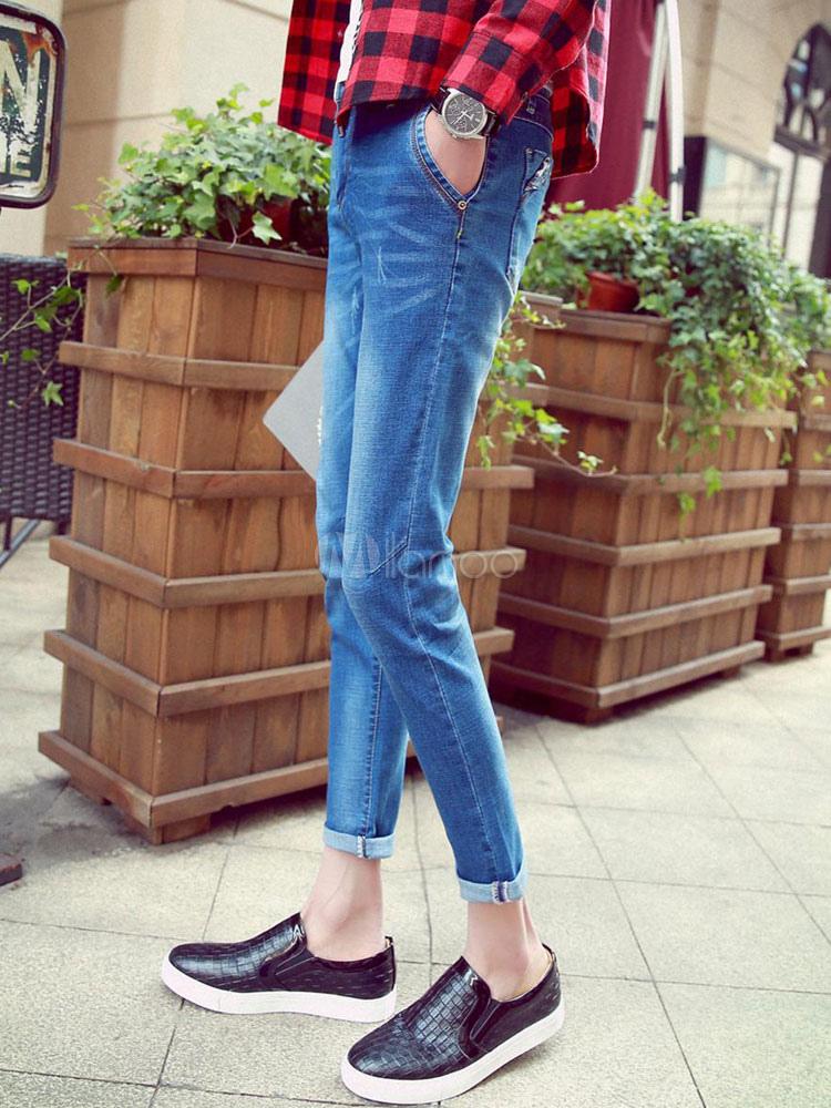 blau riss denim skinny jeans f r m nner. Black Bedroom Furniture Sets. Home Design Ideas