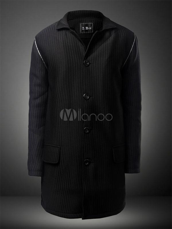 Black Cotton Causal Coat for Men thumbnail