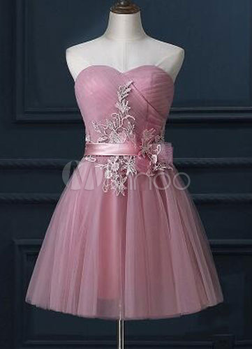 Tulle Lace Applique Strapless Sweetheart Corset Back Homecoming Dress