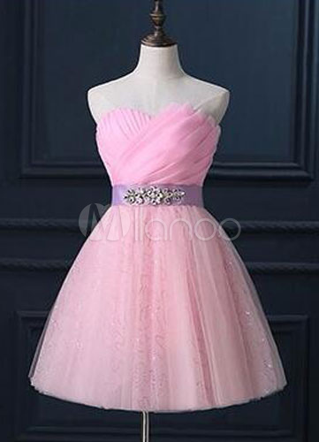 Strapless Sweetheart Corset Back Tulle Bridesmaid Dress