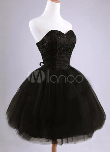 Sweetheart Corset Back Tulle Lace Applique Homecoming Dress