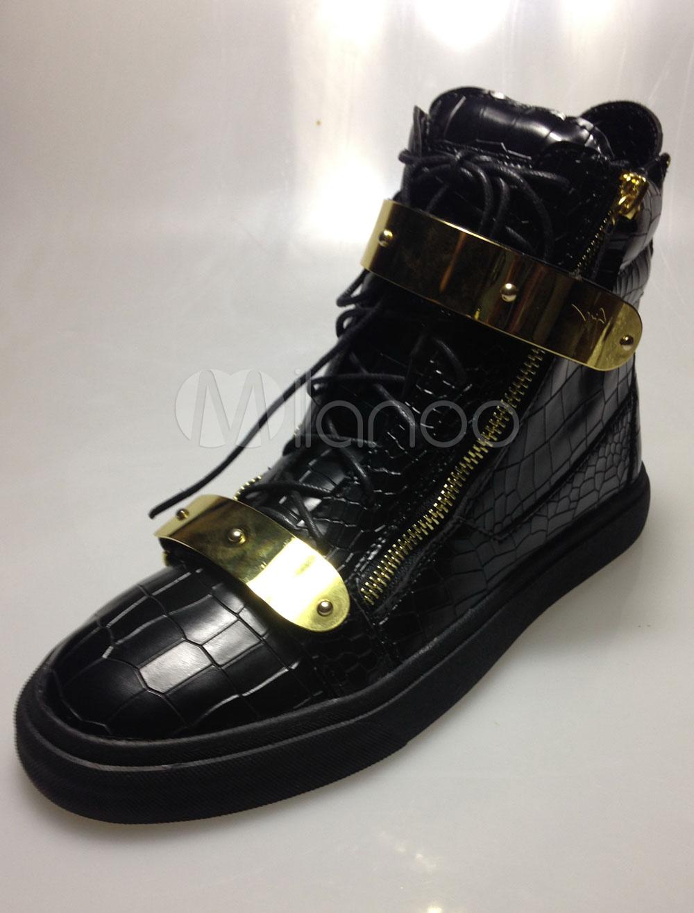Black Metal Details Leather Zipper Sneakers For Men thumbnail