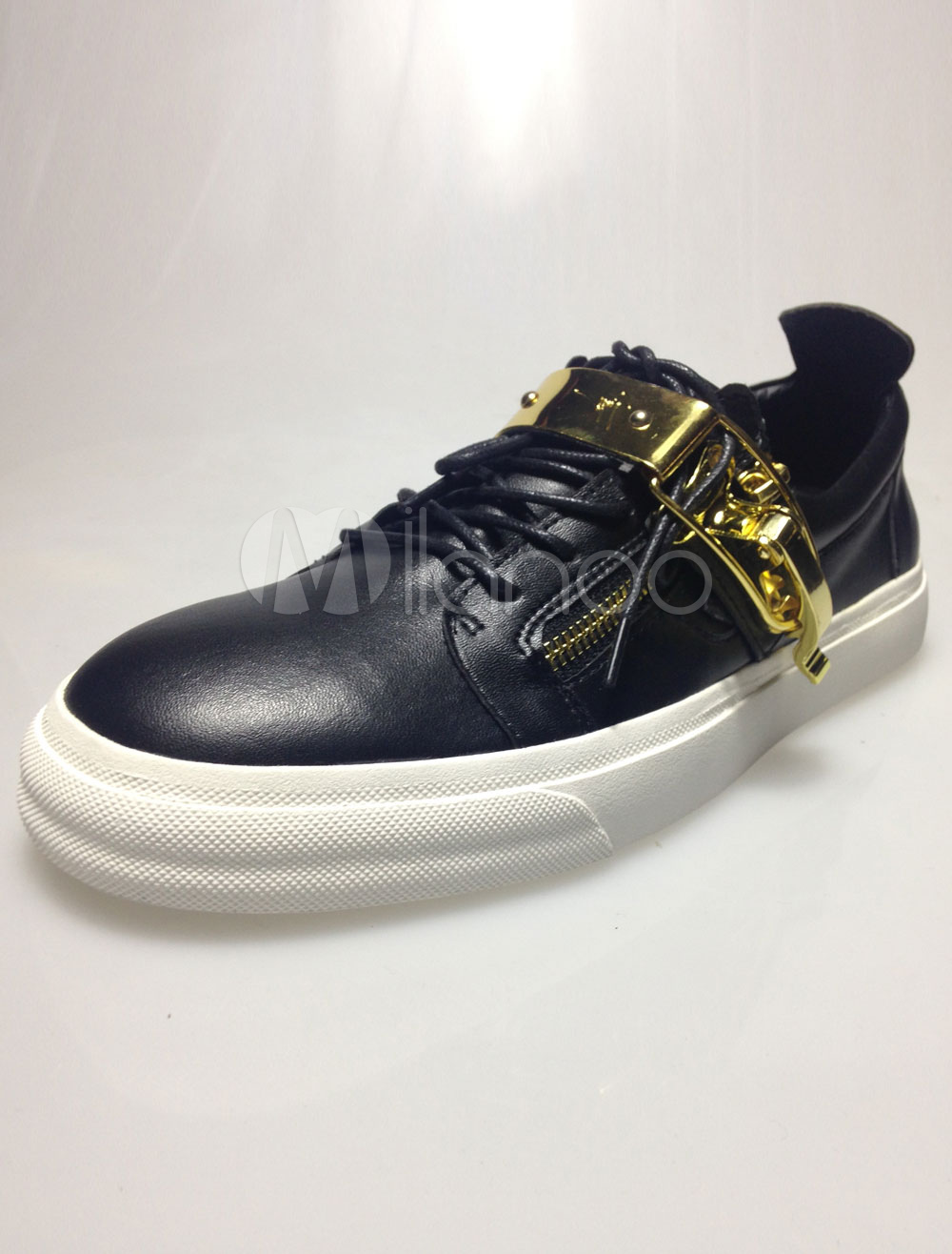 Black Zipper Leather Sneakers for Men thumbnail